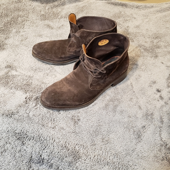 Santoni Goodyear Suede Ankle Boots Size